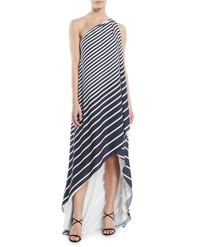 Halston One Shoulder Printed Stripe Wrap Gown Blue White dSb2Uhse