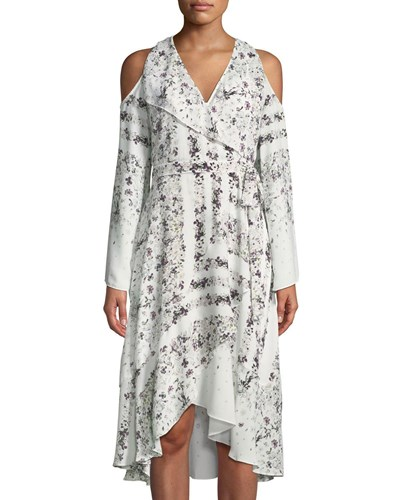 Floral White Off Dress BCBGMAXAZRIA Shoulder Hummingbird Cold t0nzp4qO