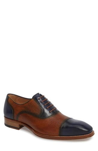 Mezlan Verino Cap Toe Oxford Blue Tan Leather dmS6UiU