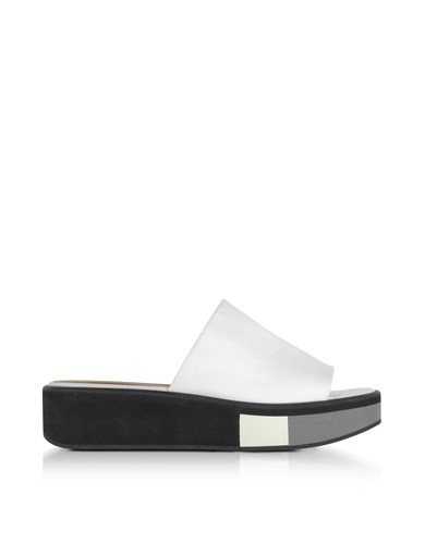 Robert Clergerie Shoes Quenor White Leather Flatform Sandals KpacB