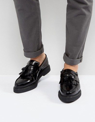 Asos Loafers In Black Leather With Creeper Sole Black sRbGK