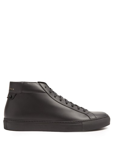 Givenchy Urban Street Mid Top Leather Trainers Black R47w4R