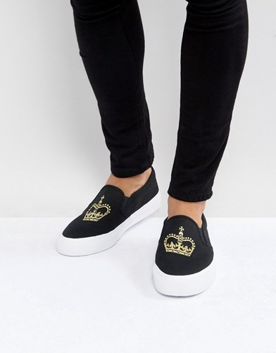 Asos Slip On Plimsolls In Black Canvas With Crown Embroidery Black zIaV6Kr