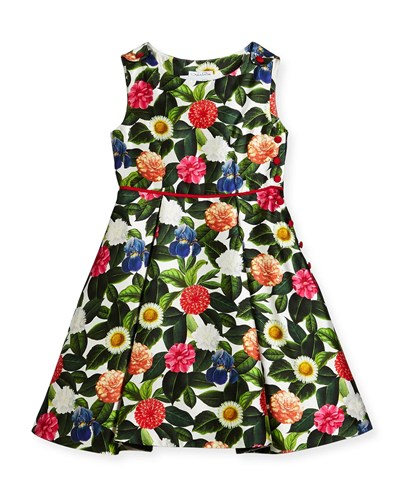 Oscar de la Renta Mikado Flower Jungle Dress W Buttons And Pleats Size 2 14 Green QOvVAsQz
