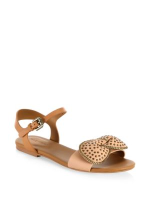 See by Chloe Clara Bow Leather Flat Sandals Tan DBEve