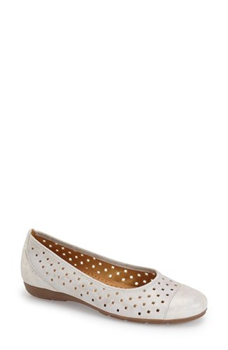 Gabor Women's Perforated Ballet Flat Puder Caruso Leather E42vcN