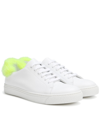 Anya Hindmarch Fur Trimmed Leather Sneakers White tP9jGn28Z