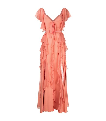 Elie Saab Ruffle And Lace Gown Orange Nq22AScKD3
