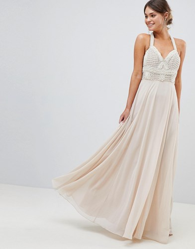 Asos Design Premium Embellished Maxi Dress With Pearl Basque Pink QZY51VmI