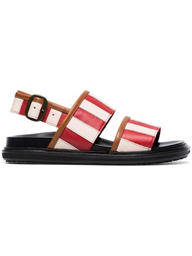 And White Red Striped Marni Leather Sandals fqHOx5