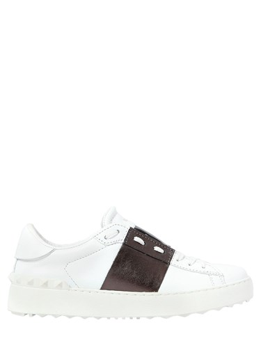 Valentino Open Leather Sneakers With Metallic Band b6ywjaSV