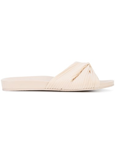 Opening Ceremony Slide Sandals Leather Polyester Rubber Nude Neutrals w1QklzAC