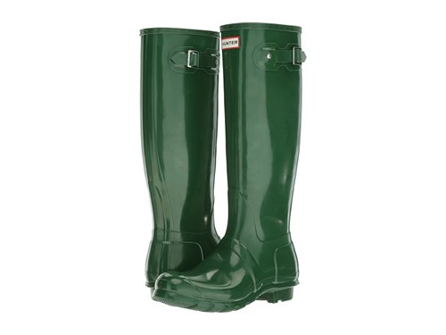Hunter Original Tall Gloss Rain Boots Green Shoes AuMPjvurA
