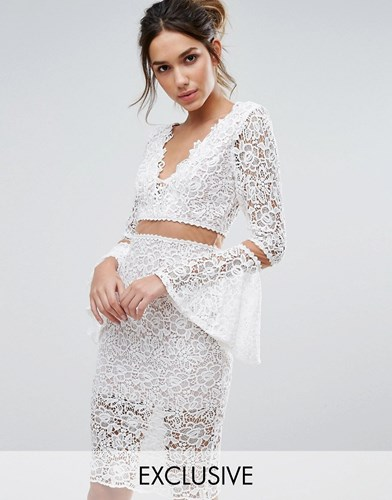 Love Triangle Lace Midi Dress With Flared Sleeves Cream FfJcgE