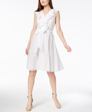 Calvin Klein Cotton Ruffled Wrap Dress White O2gstzy