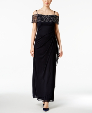 Xscape Evenings Petite Embellished Off The Shoulder Gown Navy mdTRL9NkCv