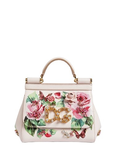 Dolce & Gabbana Small Sicily Rose Printed Leather Bag White Multi t15oI