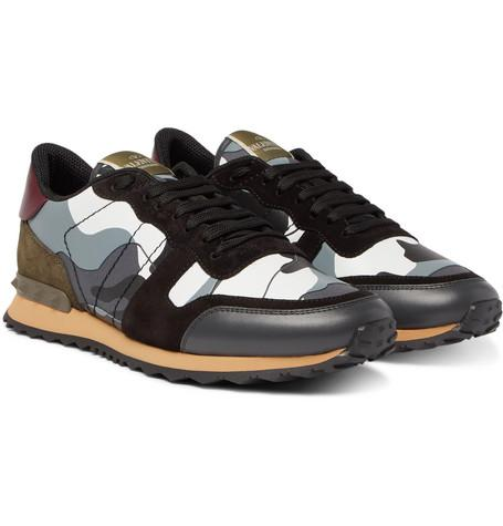 Valentino Garavani Rockrunner Camouflage Print Canvas Leather And Suede Sneakers Gray tf9To