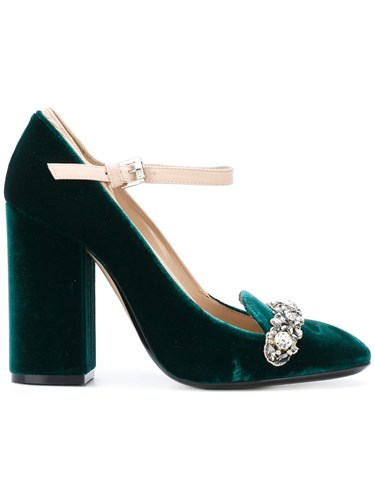 N°21 No21 Gem Embellished Pumps Leather Viscose Green tbBwBX