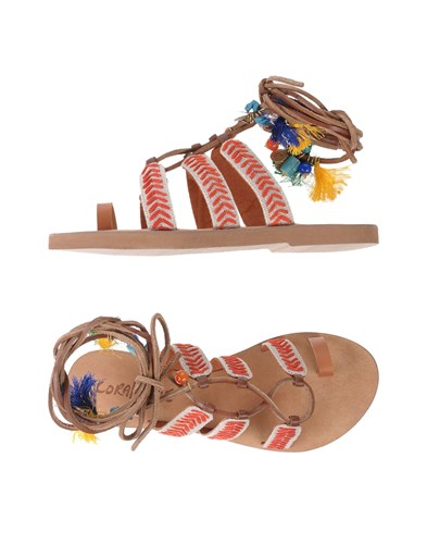 Sandals Red Strap Toe Blue Coral fwzOpn
