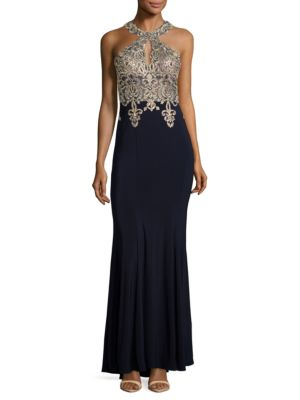 Gown Navy Trumpet Evenings Embellished Gold Xscape fOqtCwT