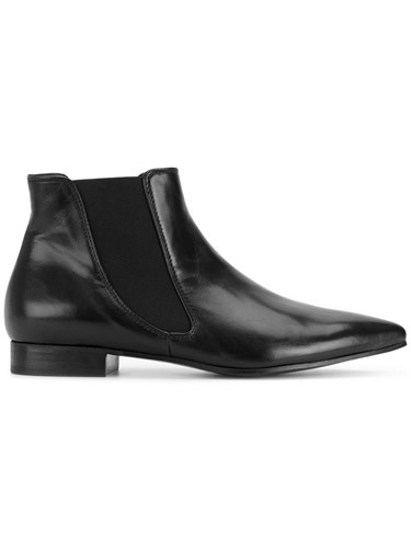 P.A.R.O.S.H. Elasticated Panel Ankle Boots Leather Rubber Black rc17Gu4