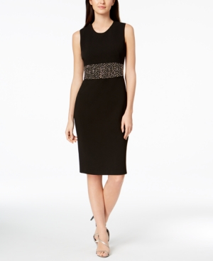 Calvin Klein Embellished Scuba Crepe Dress Black DLCAk6