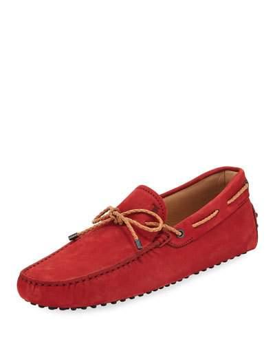 Tod's Suede Flat Slip On Moccasin Red sDfR4r4vUs