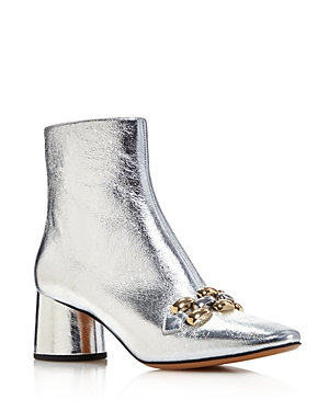 Marc Jacobs Women's Remi Leather And Chain Link Ankle Booties Silver pHgFS2