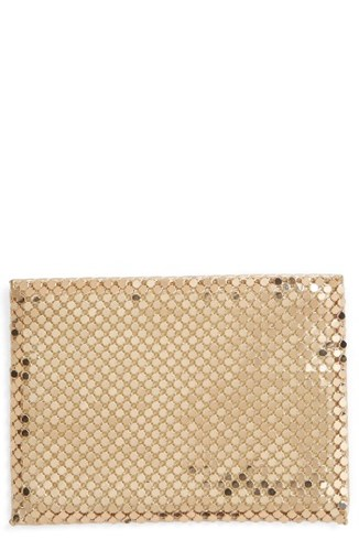 Whiting & Davis Women's Faux Leather Mesh Card Case Metallic Gold 5Mic8eUp