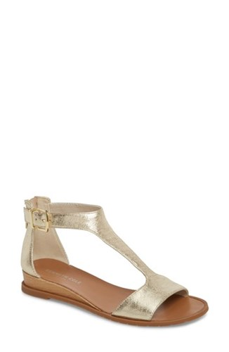 Kenneth Cole New York Judd T Strap Sandal Soft Gold Metallic Leather dgWsq