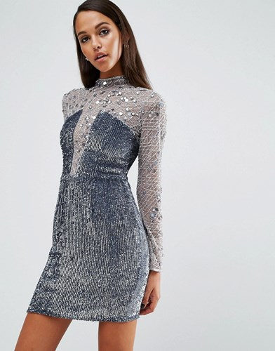 Night High Neck Embellished Mini Dress Silver