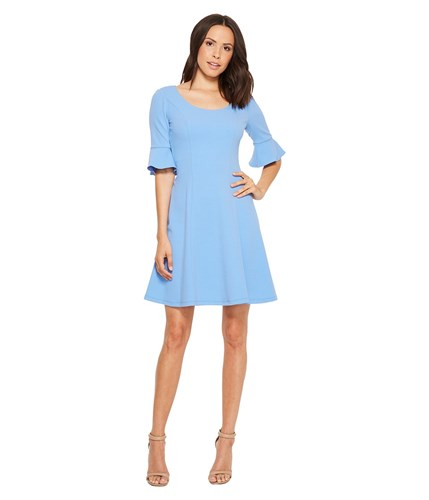 Donna Morgan Short Sleeve A Line With Princess Seams And Flutter Sleeve Blue Bonnet Dress WzxWYd