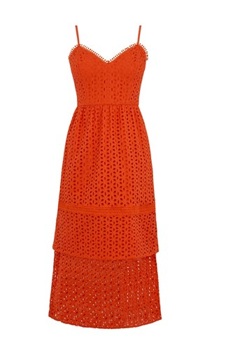 Warehouse Tiered Broderie Midi Dress Bright Red yk0v1WX5Bn