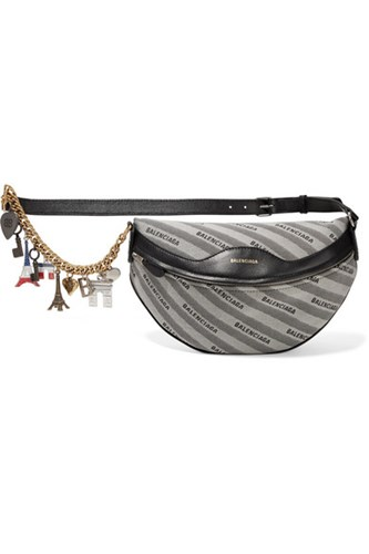 Balenciaga Embellished Leather And Canvas Shoulder Bag Gray Gbp dnminfpM