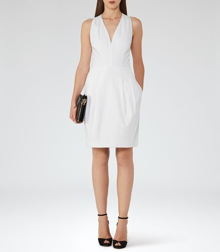 Reiss Rakele Womens V Neck Fit And Flare Dress In White Lz9B4QEBH