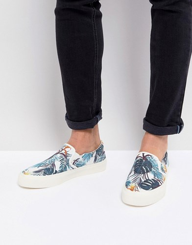Asos Slip On Plimsolls In Floral Hawaiian Print White TEAKEgz