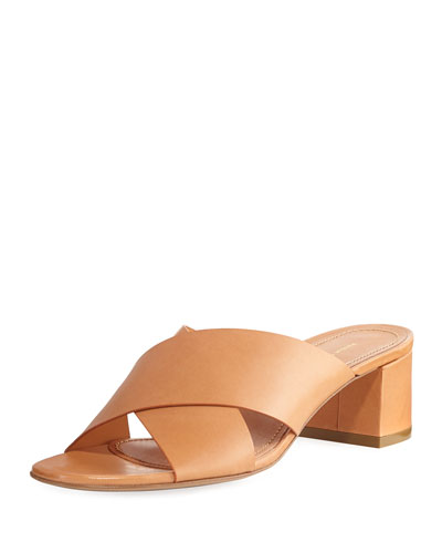 Mansur Gavriel Leather Crisscross 40Mm Slide Sandal Tan LNBSoZ