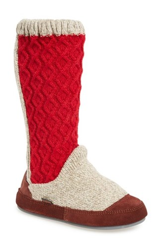 Red Women's Acorn Slouch Cable Slipper Boot Fabric qaqUdwI8