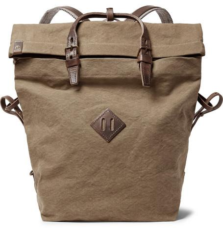 Bleu de Chauffe Woddy Leather Trimmed Cotton Canvas Backpack Army Green wmLxWd