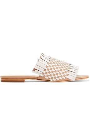 Isa Tapia Arietta Fringed Woven Leather Sandals Ivory eCahCpnTN