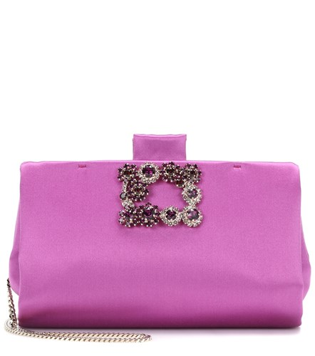 Soft Purple Clutch Vivier Roger Flowers Satin 8wq485vZ