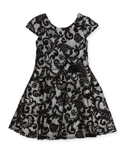Zoe Lovely Lace Contrast Overlay Dress Size 2 6X Black White 89wy5ix
