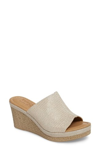 Tuscany 'S By Easy Street Octavia Espadrille Wedge Rose Gold Glitter Faux Leather iBIEGK