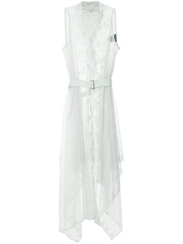 Ann Demeulemeester Lace Belted Wrap Dress Cotton Grey xufwih6