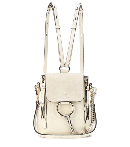 Chloé Faye Mini Leather And Suede Backpack White Z1MnH