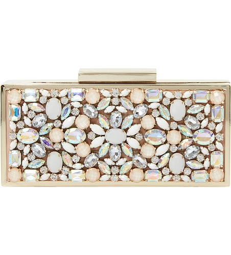 Dune Beryl Jewelled Detail Clutch Bag Nude Synthetic nX52S