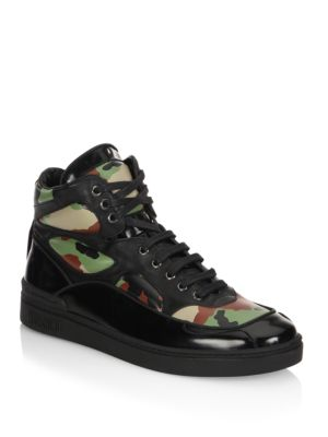 Moschino Camo Leather High Top Sneakers Black Vh1Psml7cz