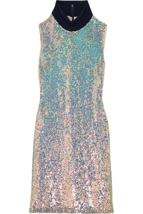 3.1 Phillip Lim Jersey Trimmed Sequined Silk Turtleneck Dress Silver RTyXh