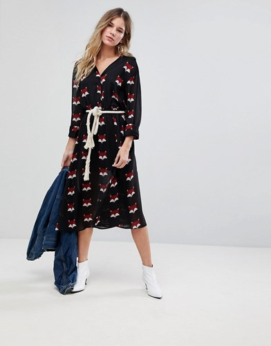 Liquorish Fox Print Shirt Midi Dress Black rjdvKgYv